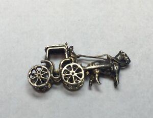 Vintage Sterling Silver Horse Amp Carriage Bracelet Charm