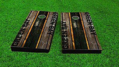 Distressed Football Woodslat Custom Cornhole Board Set Cleveland