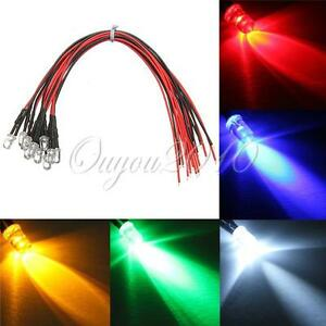 10-20-50-100x-5mm-Super-Ultrahelle-LED-LEDs-Lampe-mit-20cm-Kabel-5-Farbe-12V-DIY