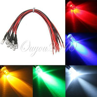 10/20/50/100x 5mm Super Ultrahelle LED LEDs Lampe mit 20cm Kabel 5 Farbe 12V DIY