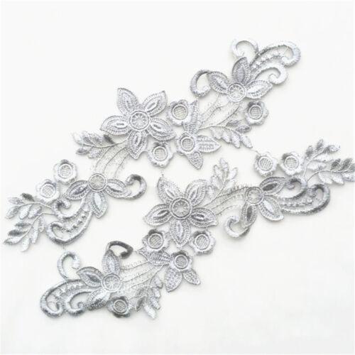 1 Pair Applique Lace Trim Embroidery Sewing Motif DIY Wedding Bridal Crafts