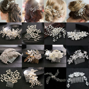 Wedding-Bridal-Pearl-Crystal-Hair-Pins-Clips-Flower-Bridesmaid-Side-Comb-Jewelry