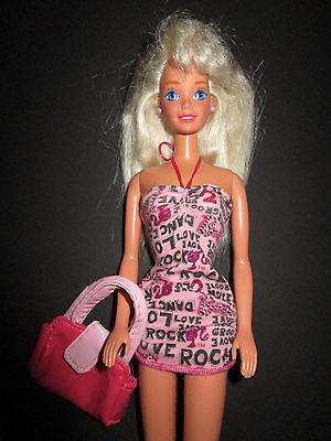 B492-vecchia Bionda Barbie Mattel Originales Abito + Orecchini + Scarpe Senza Funzione-+schuhe Ohne Funktion It-it Mostra Il Titolo Originale