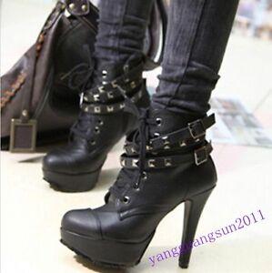 Punk-Chic-Ladies-Studded-High-Heels-Platform-Lace-up-Ankle-Boots-Shoes-Black-Sz