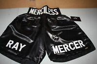 "RAY MERCER SIGNED BLACK BOXING TRUNKS FORMER CHAMP LEAF CERTIFIED ""MERCILESS"""