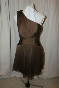 NWT-Size-10-ME-TOO-Moonlight-Bridesmaid-one-shoulder-short-Espresso-brown