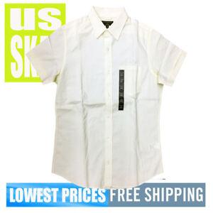 Banana-Republic-Men-039-s-NWT-Light-Yellow-Short-Sleeve-Button-Front-Shirt-MEDIUM