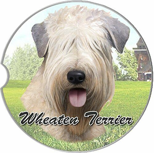 Wheaten Terrier Car Coaster Absorbent Keep Cup Holder Dry Stoneware Dogs New