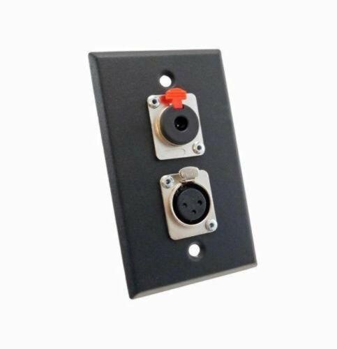 "NEW ProCraft Black Stainless Steel Wall Plate W// 1 Female XLR 1 Locking 1//4/"""
