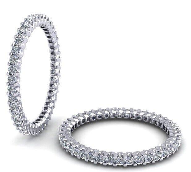 F SI 0.55ct Round Brilliant Cut Diamonds Full Eternity Wedding Ring,White gold