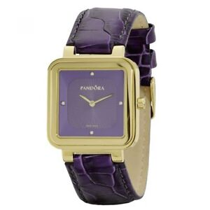 Pandora-Damen-Uhr-812032PE-Leder-Armband-Lila-Gold-Lady-Watch-NEU-amp-OVP