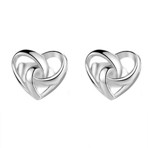 Simple Love Heart Ear Studs Silver Mini Earrings Women Lady Girls Gift HY