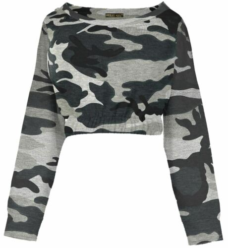 New Womens Long Sleeve Ruffled Elastic Waist Hem Sweatshirt Crop Top 8-14