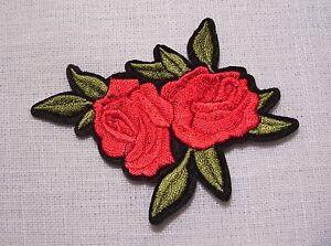 C5492 Duo Fleur Rose Rouge 8 X 7 Cm Applique Ecusson Patch