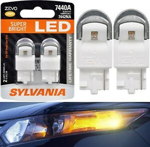 Sylvania-ZEVO-LED-Light-7440-Amber-Orange-Two-Bulbs-Rear-Turn-Signal-Replace-OE