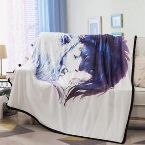 3D Purple Unicorn Velvet Plush Throw Blanket Sherpa Bedding Thin Quilt 60×80in
