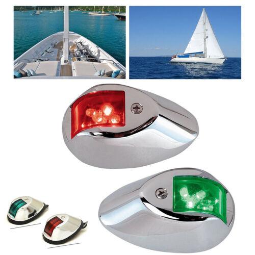 Pair Marine Boat Yacht Bow Light 12V Stainless Steel LED Navigation Side Lights