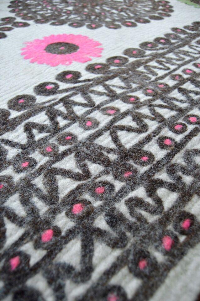 Gulvtæppe, ægte tæppe, filt/uld