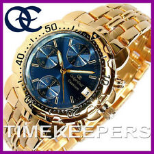 Da Uomo Oskar Emil Cesio 23K Oro Cronografo Sport Orologio Quadrante Blu