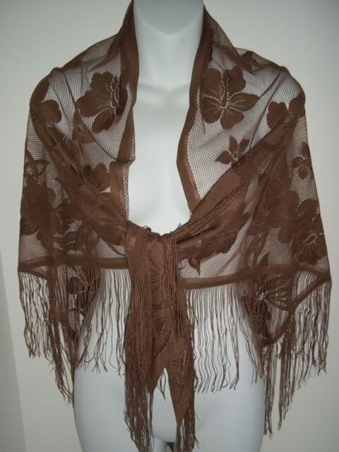 50a2463627a Lace Shawl Chocolate Brown Floral Pashmina Scarf Women Wrap Dbsf680