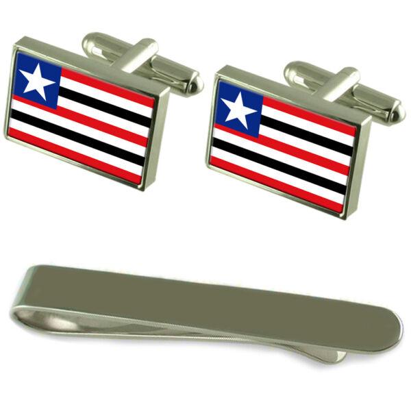 100% QualitäT Maranhão Flagge Silber Manschettenknöpfe Clip-krawatte Kiste Geschenkset