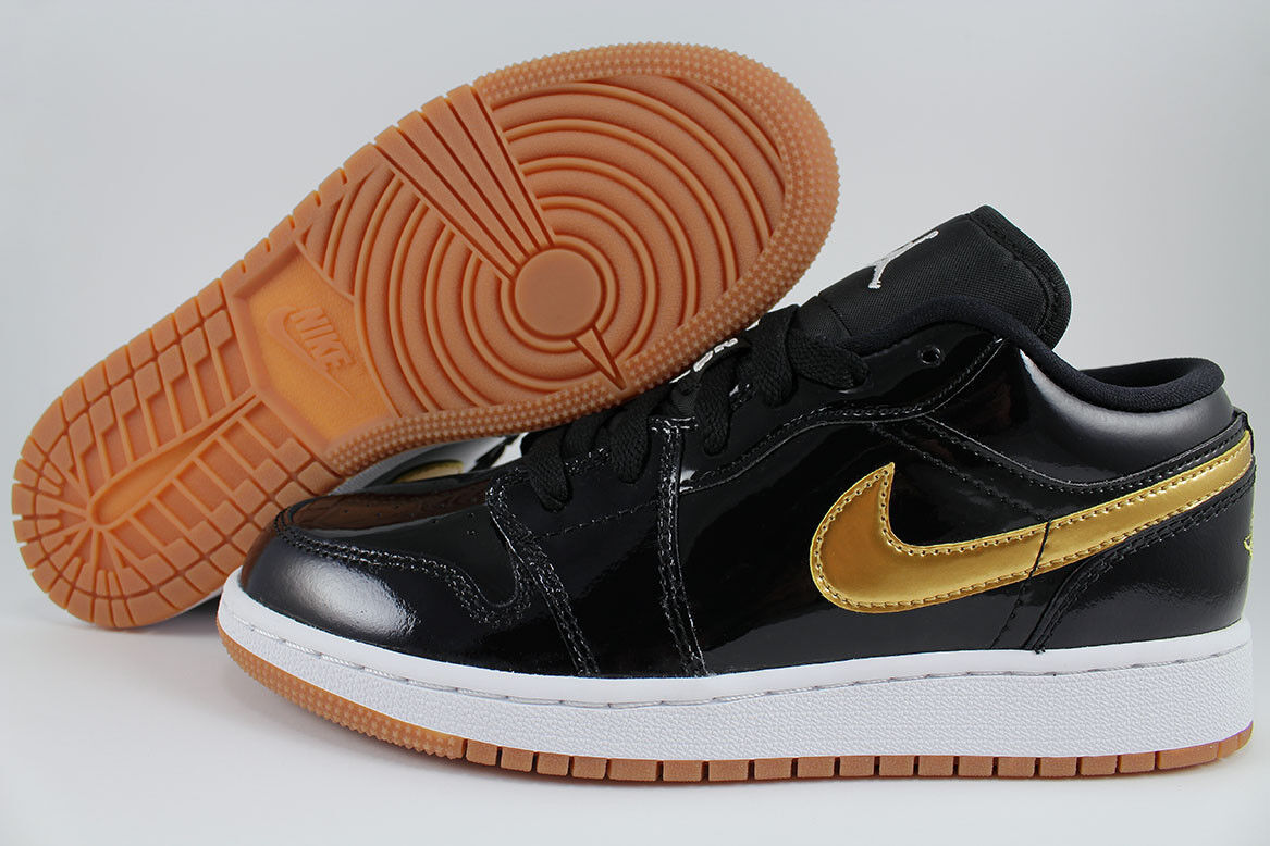 NIKE AIR JORDAN 1 LOW Noir /METALLIC GOLD/GUM PATENT LEATHER femmes GIRL YOUTH SZ