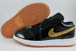 NIKE AIR JORDAN 1 LOW BLACK METALLIC GOLD GUM PATENT LEATHER WOMEN ... e95d9936b2