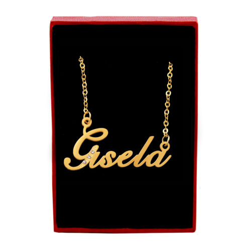Gisela Name Necklace Cubic Zirconia Gold Tone Mothers Day Birthday