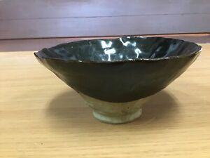 Y0905-CHAWAN-Seto-ware-signed-tea-ceremony-Japanese-pottery-antique-bowl-Japan