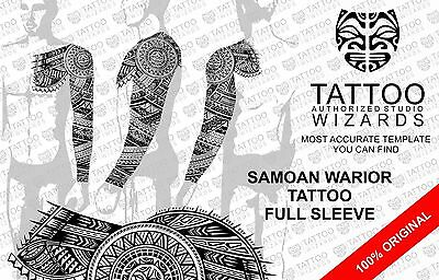 Maori Samoan Polynesian SUN WARRIOR Full Sleeve TATTOO Stencil Template