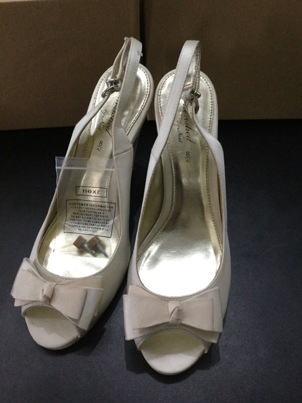 Lovely cream satin heels from Next cherished collection size 8