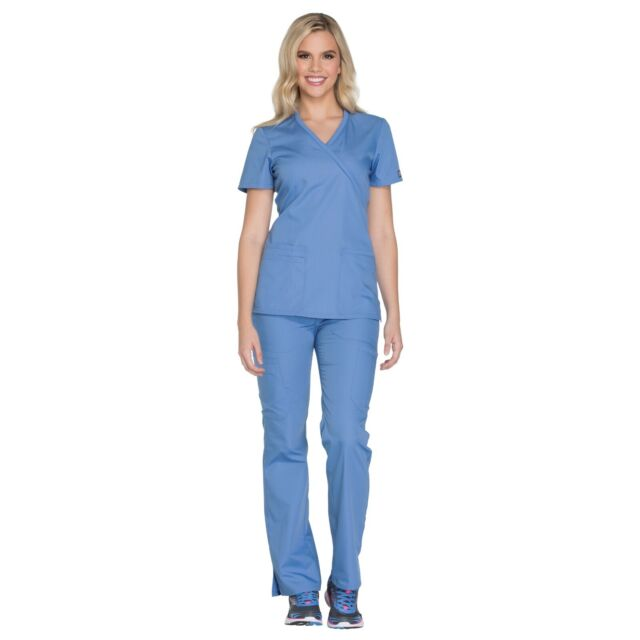 Cherokee Scrubs Set ORIGINAL Women/'s Mock Wrap Top /& Pant 4801//4101 Regular