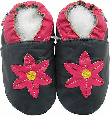 soft leather baby shoes pop flower dark blue 0-6m S