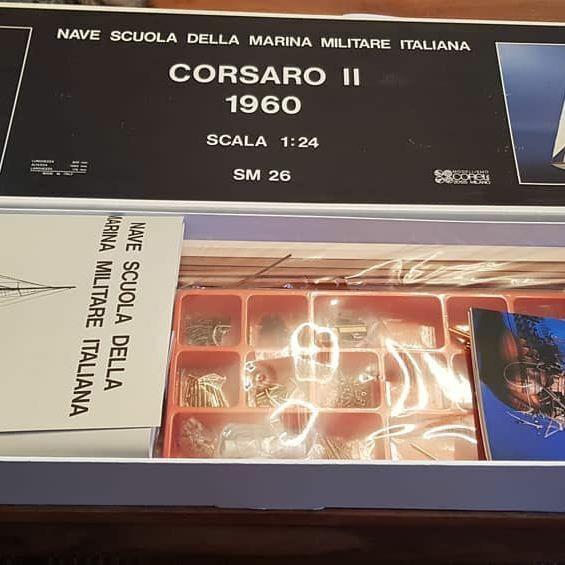 1 24 Corel Corsaro II, Italian Training Sailing Ship,Wood Brass Model Kit  SM 26