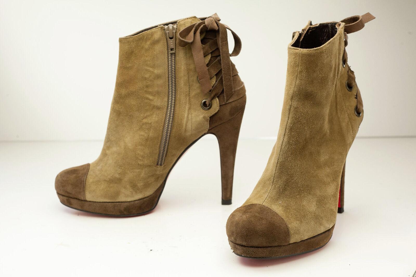 Jorge Juan 6.5 Brown Platform Ankle Boots Women's Spain