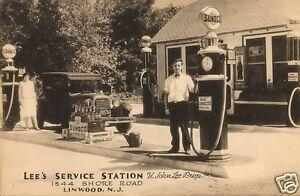 4x6-LEES-SUNOCO-SERVICE-STATION-H-JOHN-LEE-PROP-MOTOR-OIL-BOTTLES-coke-sign