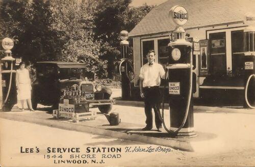 MOTOR OIL BOTTLES coke sign 5x7 LEE/'S SUNOCO SERVICE  STATION H.JOHN LEE PROP