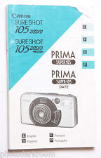 Canon Prima 105 35mm Film Camera Manual Instruction Book - En Es Fr Pt USED GD
