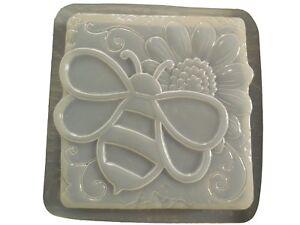 Bumble Abeille W Tournesol Stepping Stone Plâtre Béton Moule 1304 Moldcreations-afficher Le Titre D'origine