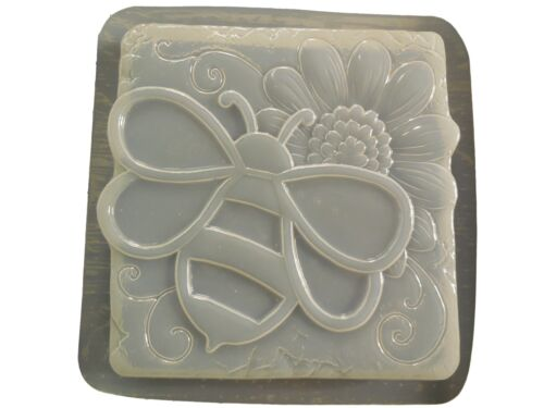 Bumble Bee w Sunflower Stepping Stone Plaster Concrete Mold 1304 Moldcreations