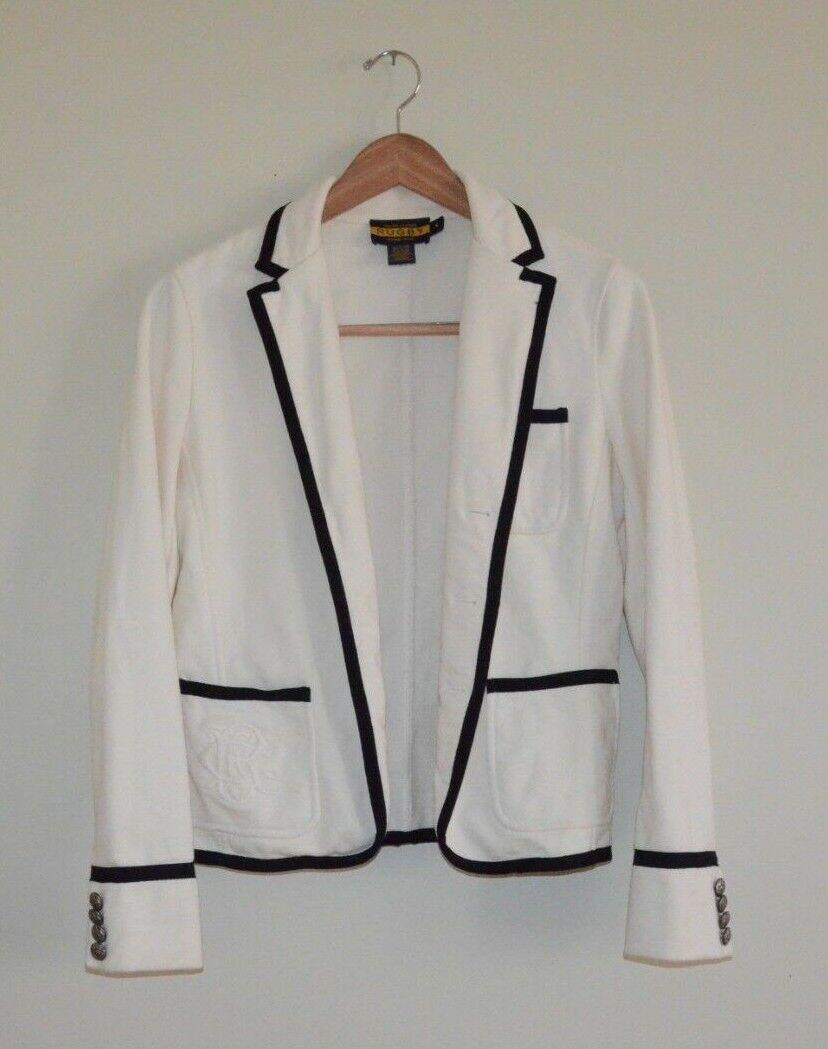 Rugby Ralph Lauren schwarz d& 039;ivoire Crest Blazer Jacket Größe 4