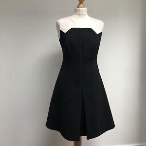 KAREN-MILLEN-Dress-Size-14-Black-Cream-Retro-Style-Monochrome-Sleeveless-Pockets