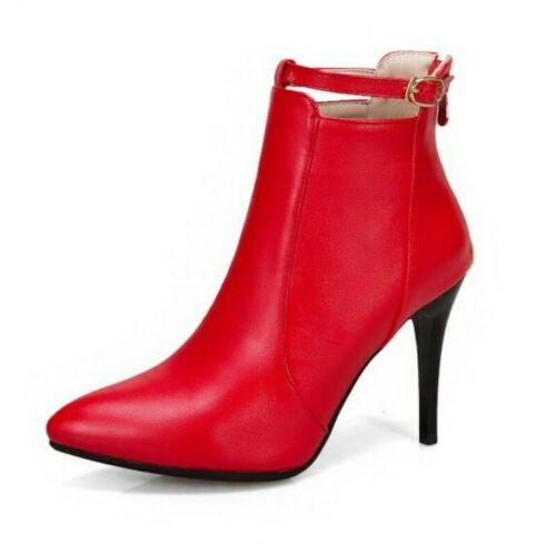 Details about  /5 Colors Women Pumps Pointy Toe Party Prom Stilettos Zip Up Casual Ankle Boots D