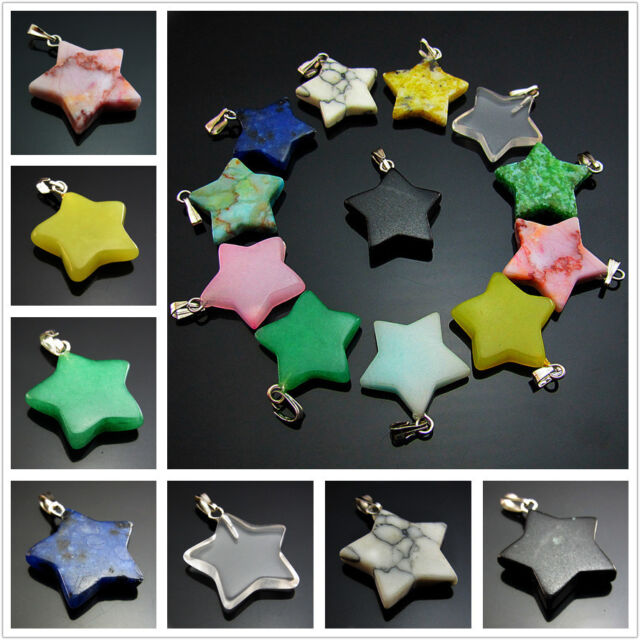 Natural Gemstones Five-pointed star Reiki Chakra Pendants Bead Necklaces Earring