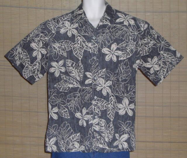 Tori Richard Hawaiian Shirt Reverse Pattern Gray Tan Flowers Leaves Size Large