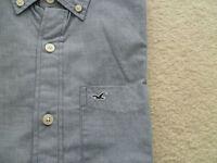 Mens Hollister Casual Dress Shirt Classic Button Down Woven Collar Front Xl