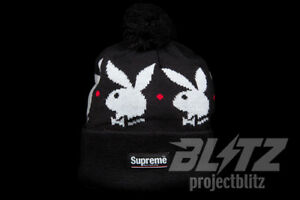cff2008b9 Image is loading SUPREME-PLAYBOY-BEANIE-BLACK-FW17-2017-WHITE-RED
