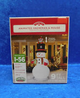 9' Airblown Inflatable Animated Snowman & Mouse Pops Up