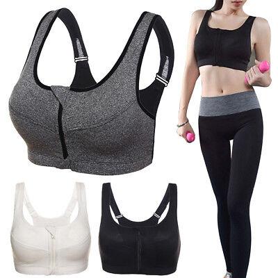 Zipped Active Sports Yoga Bra Crop Top Vest Comfort Stretch Padded Impact UK