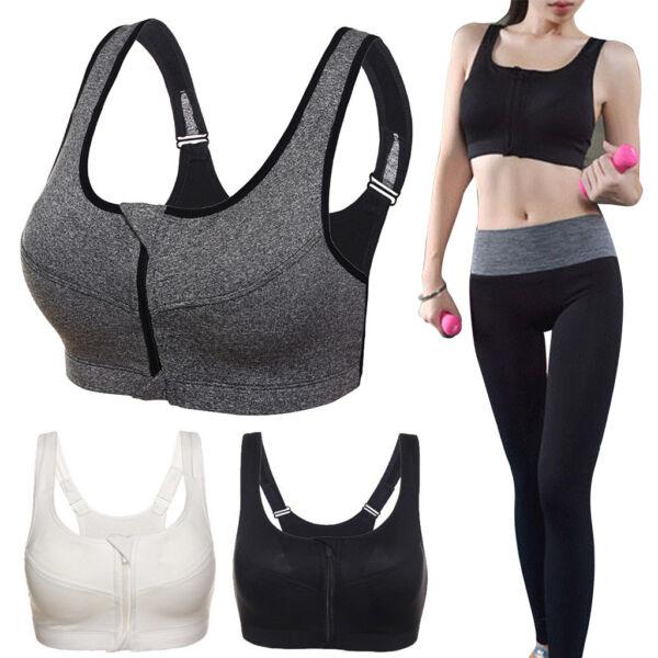 Women Front Zip Sports Bra Push Up High Impact Wireless Padded Yoga Gym Vest Top